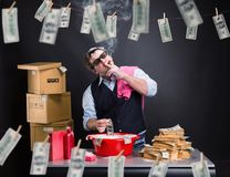Businessman is laundering money in the basement Stock Images