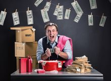Businessman is laundering money Royalty Free Stock Image