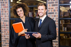 Businessman and lawyer standing near library Stock Images