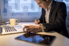 Businessman or lawyer, working late business hours Stock Photography