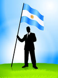 Businessman Leader Holding Argentina Flag Stock Images