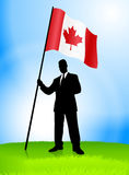 Businessman Leader Holding Canada Flag Stock Photography