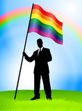 Businessman Leader Holding Gay Flag Stock Images