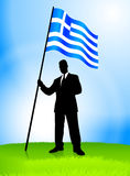 Businessman Leader Holding Greece Flag Stock Photography