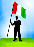 Businessman Leader Holding Italy Flag Royalty Free Stock Photography