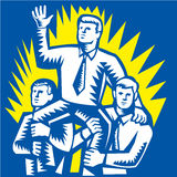 Businessman Leader Prop Up Shoulders Woodcut. Illustration of a businessman being prop up on shoulders of fellow workers colleague facing front done in retro Stock Photos