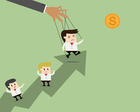 Businessman leader puppet on ropes to target and teamwork Stock Images