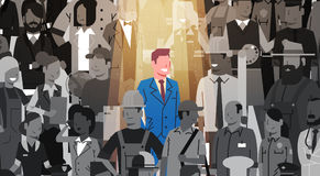 Businessman Leader Stand Out From Crowd Individual, Spotlight Hire Human Resource Recruitment Candidate People Group. Business Team Concept Vector Illustration royalty free illustration