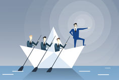 Businessman Leading Business People Team Swim In Boat Teamwork Leadership Concept. Flat Vector Illustration Royalty Free Stock Image