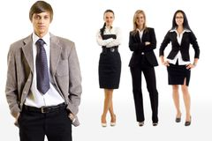Businessman leading a business team stock photography