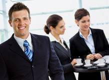 Businessman leading business team Stock Photography