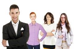 Businessman leading a business team Stock Photo