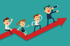 Businessman leading his team to success. Illustration of team of businessman on arrow graph. Team leader has telescope and leading his team to success Royalty Free Stock Image