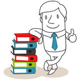 Businessman leaning against stack of binders, thum. Vector illustration of a monochrome cartoon character: Friendly looking businessman leaning against a stack royalty free illustration