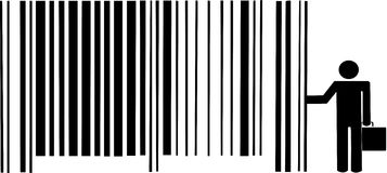 Businessman leaning on barcode Royalty Free Stock Photography