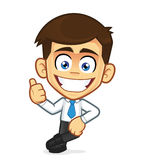 Businessman leaning on an empty block. Clipart picture of a businessman cartoon character leaning on an empty block Stock Photo