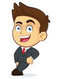 Businessman Leaning on an Empty Block. Clipart Picture of a Male Businessman Cartoon Character Leaning on an Empty Block Stock Photo