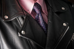 Businessman in leather jacket. With pink shirt Royalty Free Stock Photography