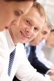 Businessman at lecture stock photography