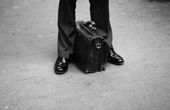 Businessman leg briefcase Royalty Free Stock Photos