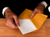 Businessman with letter,envelope - open Royalty Free Stock Photo