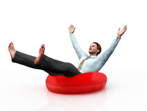 Businessman on the lifebuoy Royalty Free Stock Photography