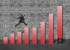Businessman lift one red bar and another jumping on chart. Businessman running and jumping on red bar chart another lift one with bricks wall background Stock Photography