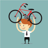 Businessman lift up red and black bicycle for go to exercise aft Stock Photos