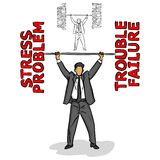 Businessman lifting a barbell of the red negative words vector i stock photos