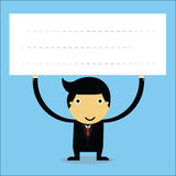 Businessman. Lifting a blank white sign Royalty Free Stock Photos