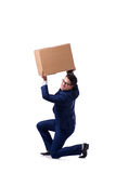 The businessman lifting box isolated on white Stock Images