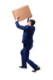 The businessman lifting box isolated on white Royalty Free Stock Photography