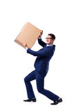 The businessman lifting box isolated on white Stock Photo