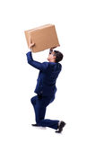 The businessman lifting box isolated on white Stock Image