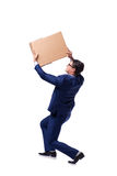 The businessman lifting box isolated on white Royalty Free Stock Photo