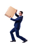 The businessman lifting box isolated on white Stock Photography