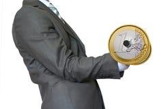 Businessman Lifting Dumbbell Gold Euro Stock Image