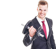Businessman lifting a dumbbell Royalty Free Stock Photography