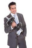 Businessman Lifting Dumbbells Stock Photography