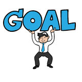 Businessman lifting goal royalty free illustration