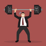 Businessman lifting a heavy weight debt Stock Photography