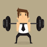 Businessman lifting heavy weight debt. Vector Royalty Free Stock Images