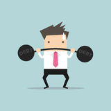 Businessman lifting heavy weight debt Royalty Free Stock Photo