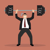 Businessman lifting a heavy weight tax. Business concept Stock Image