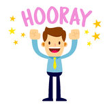 Businessman Lifting His Arms Up And Shout Hooray. Vector stock of a businessman shouting hooray with joy Stock Images