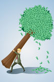 Businessman lifting money tree. A vector illustration of a businessman lifting a money tree Stock Photography