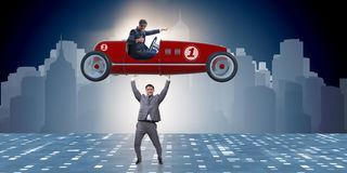 The businessman lifting sports car in power concept Royalty Free Stock Images