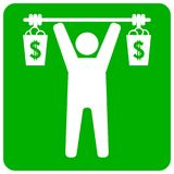 Businessman lifting two money bags Royalty Free Stock Photo
