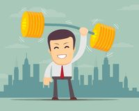 Businessman lifting up barbell with coin weight. Financial strength concept, VECTOR Stock Photography