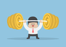 Businessman lifting up barbell with coin weight Royalty Free Stock Image
